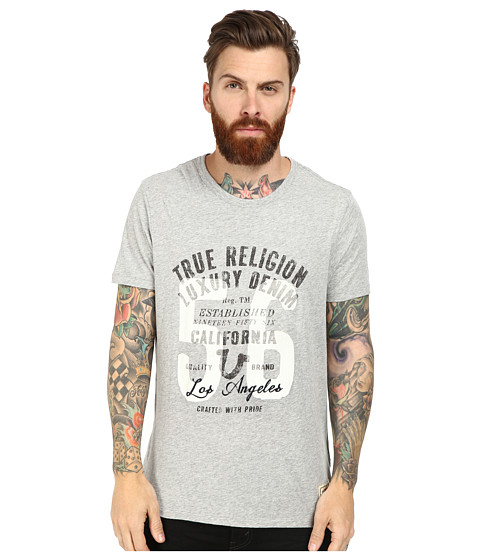 True Religion - 56 Crew T-Shirt Short Sleeve (Grey Marl) Men's T Shirt