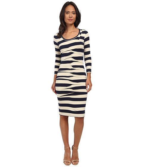 Nicole Miller - Striped Jersey Dress (Navy/Cream) Women