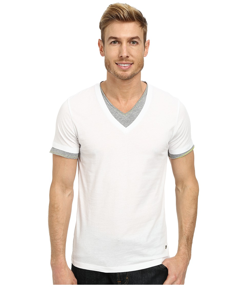 BOSS Orange - Tulis Short Sleeve Double Layer V-Neck (White) Men's Short Sleeve Pullover
