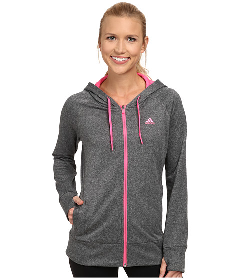 adidas - Ultimate Full-Zip Hoodie (Dark Grey/Solar Pink) Women's Sweatshirt