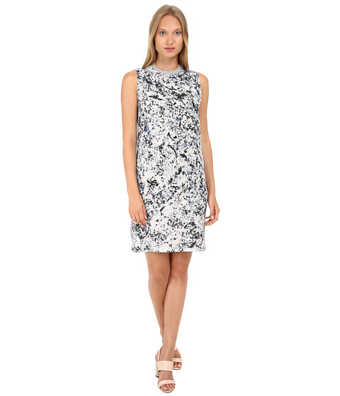 McQ - Long Box Silk Dress (Marble Print) Women