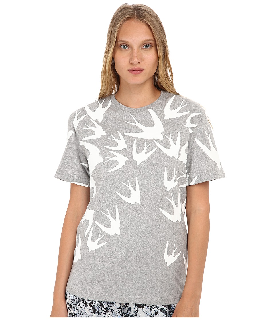McQ - Boyfriend T-Shirt (Grey Melange/White) Women's T Shirt