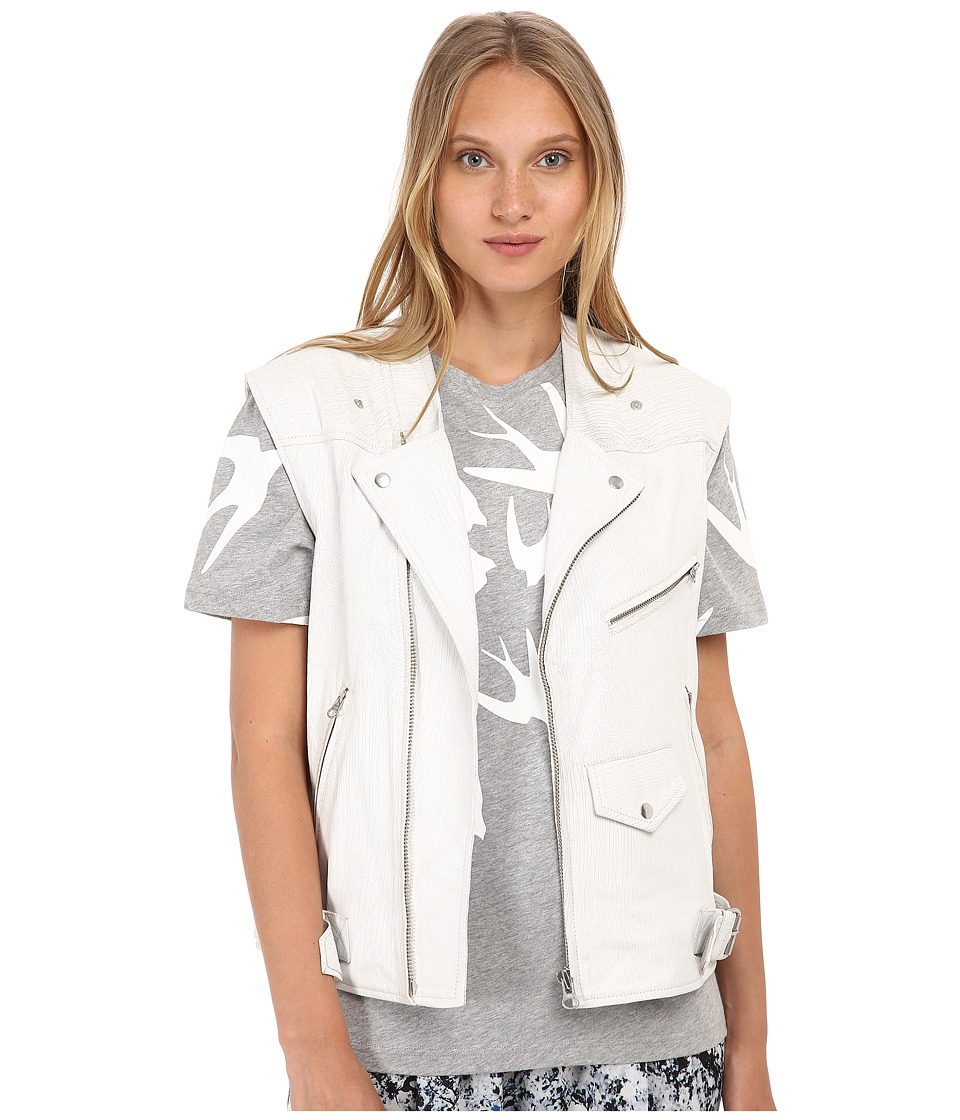 McQ - Biker Gilet (Cracked White) Women's Coat
