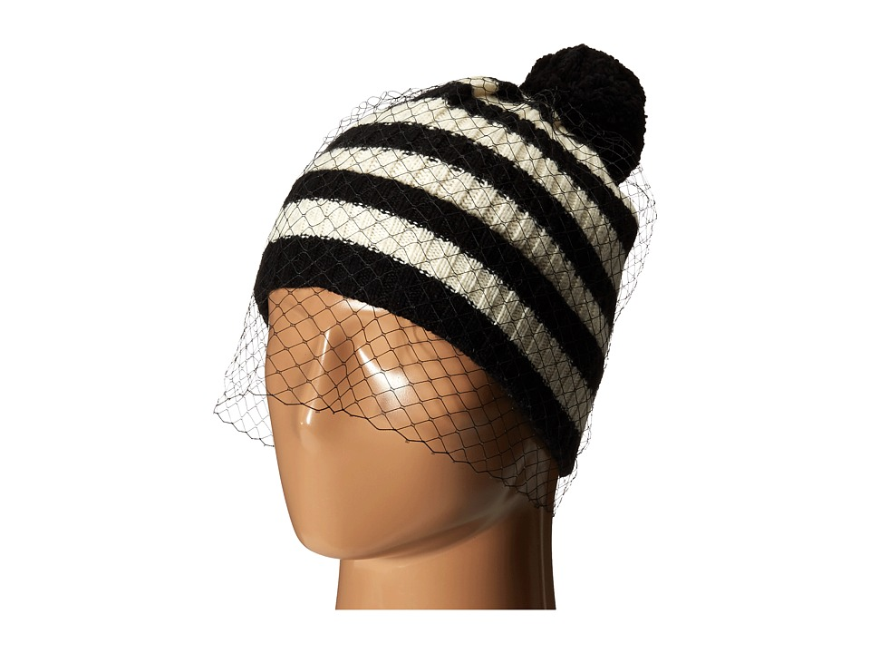 BCBGMAXAZRIA - Striped Veil Beanie (Black/White) Beanies