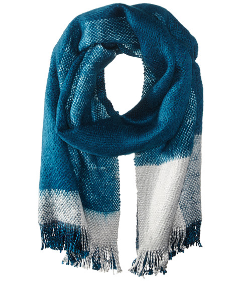 BCBGMAXAZRIA - Brushed Color Block Runway Wrap (Deep Caribbean) Scarves
