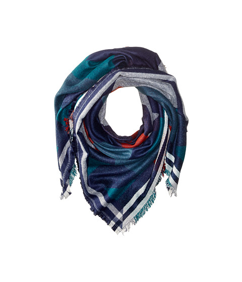BCBGMAXAZRIA - Brushed Geo Runway Wrap (Vintage Blue) Scarves