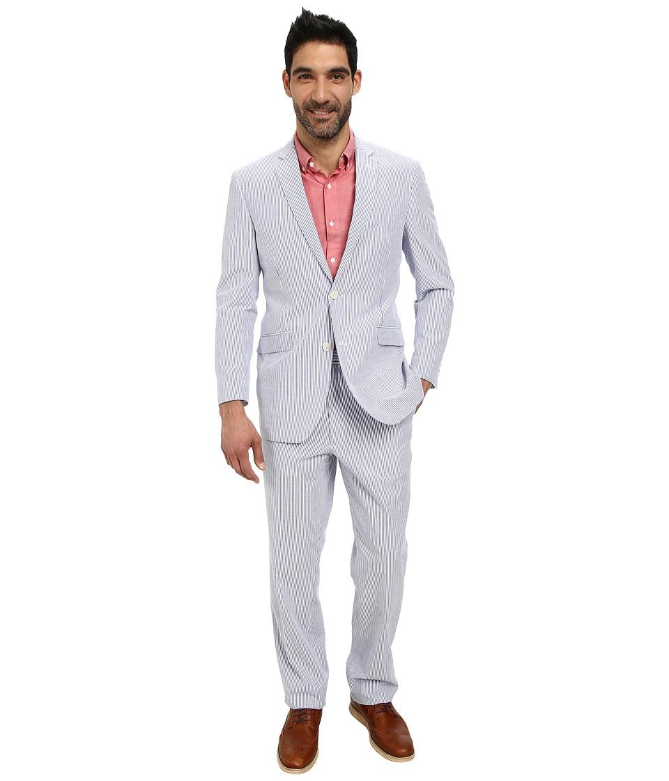 U.S. POLO ASSN. - Two-Button Nested Seersucket Suit (Blue/White) Men's Suits Sets