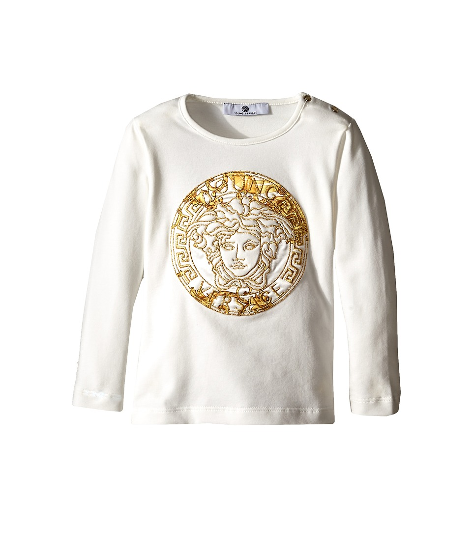 Versace Kids - Medusa Print w/ Stone Graphic Long Sleeve Tee (White) Kid's T Shirt