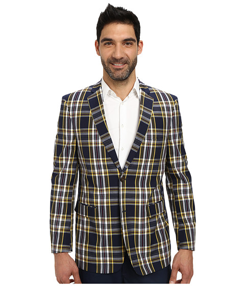 U.S. POLO ASSN. - Two-Button Bold Plaid Blazer (Navy Multi Plaid) Men's Jacket