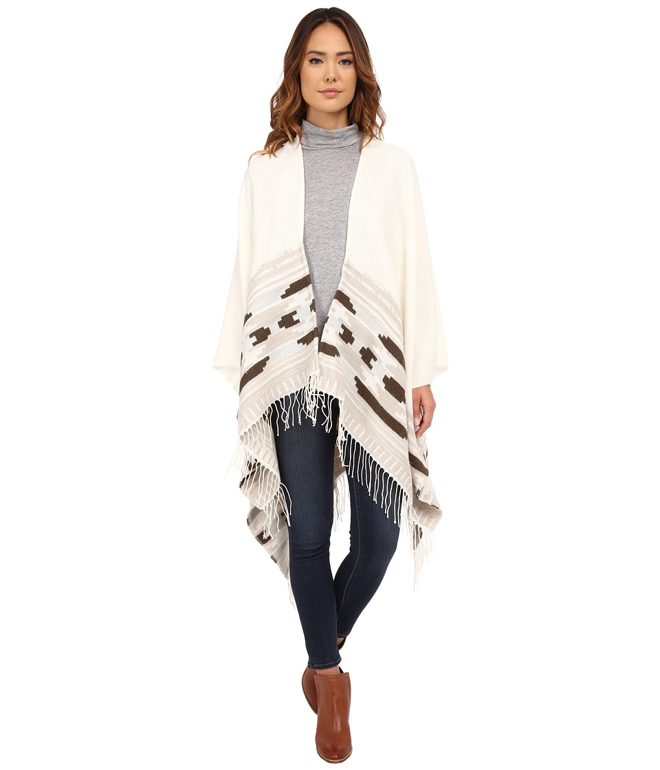 Vince Camuto - Geo Weave Ruana (Off White) Scarves