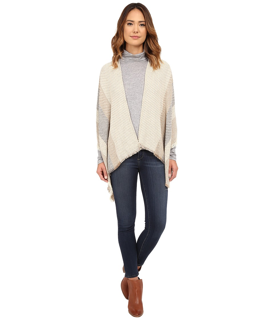 Vince Camuto - Stripe Herringbone Ruana (Cuban Sand) Women's Sweater