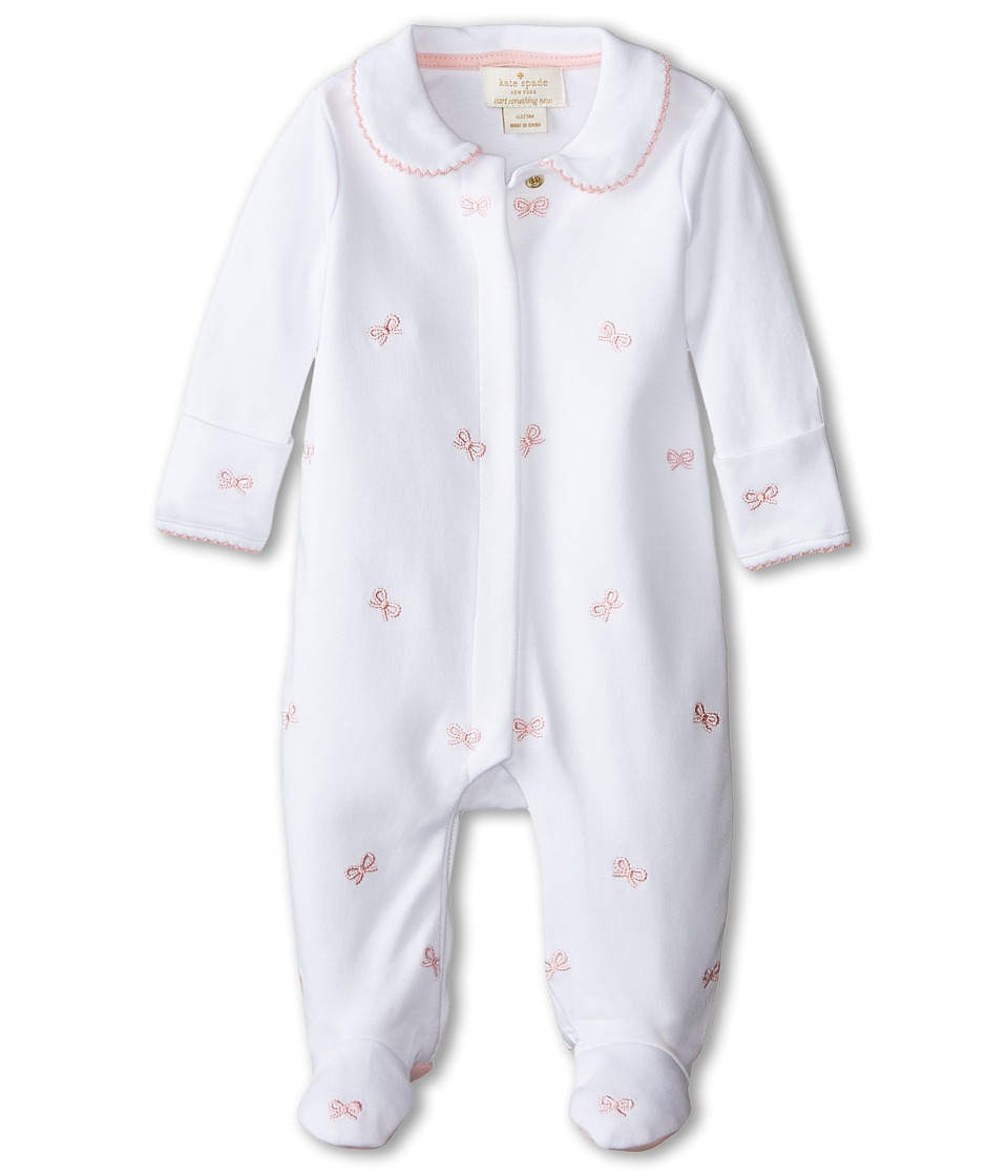 Kate Spade New York Kids - Bow Footie (Infant) (White/Pink) Girl's Jumpsuit & Rompers One Piece