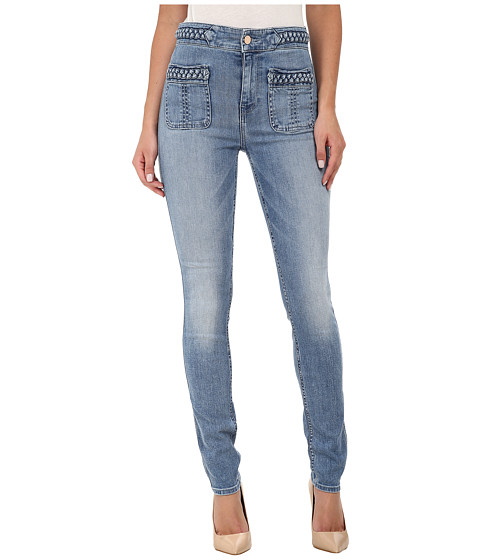 7 For All Mankind - Braided Skinny in Light Blue Hue (Light Blue Hue) Women