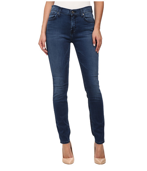 7 For All Mankind - Mid Rise Skinny with Tonal Squiggle in Pure Medium Vintage Sateen (Pure Medium Vintage Sateen) Women