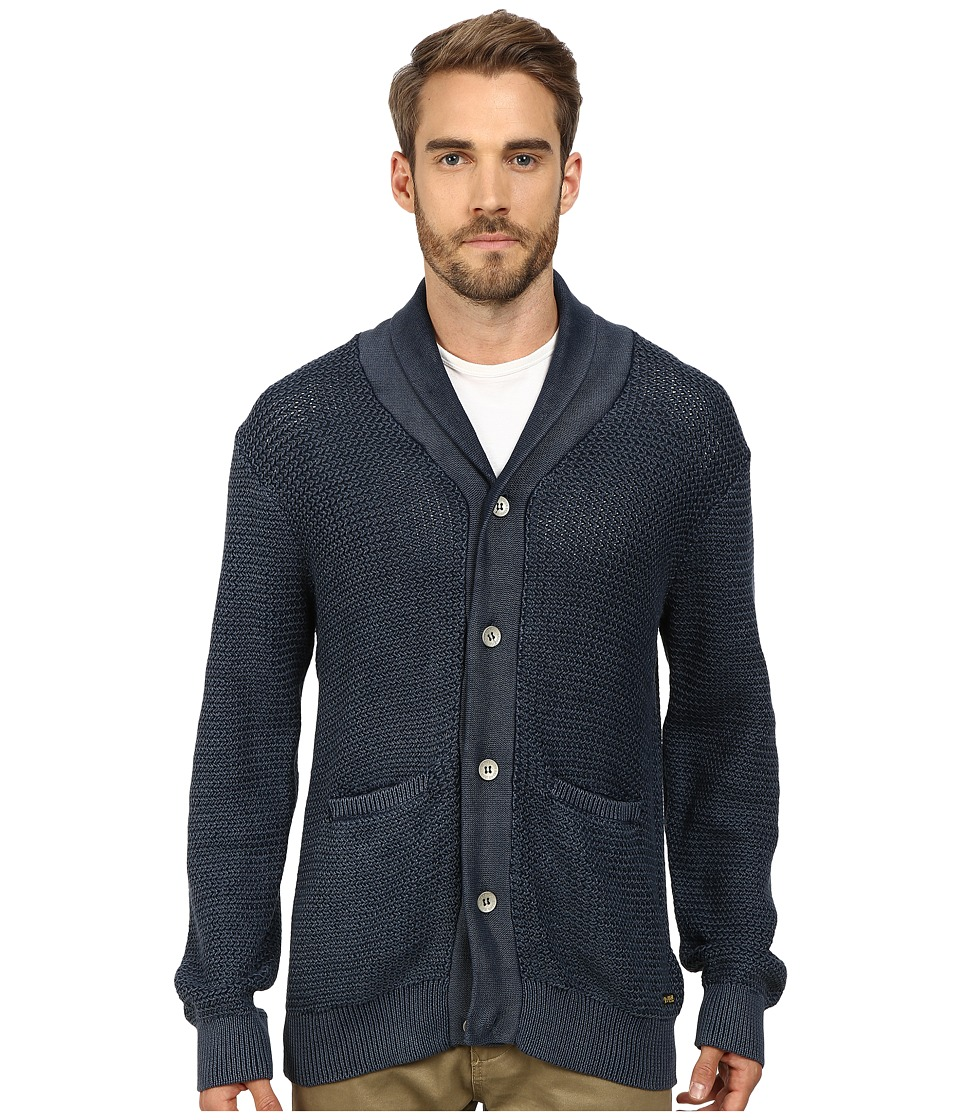 True Religion - Acid Wash Long Sleeve Button Down Cardigan (Navy) Men