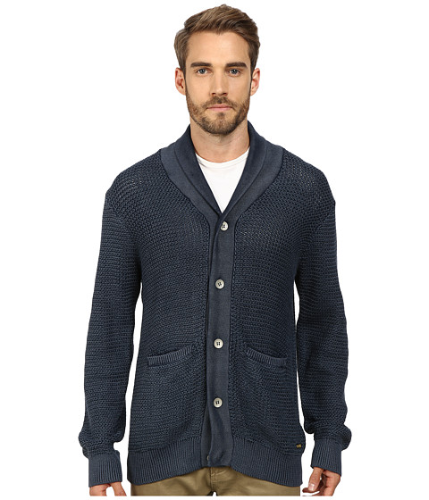 True Religion - Acid Wash Long Sleeve Button Down Cardigan (Navy) Men's Sweater