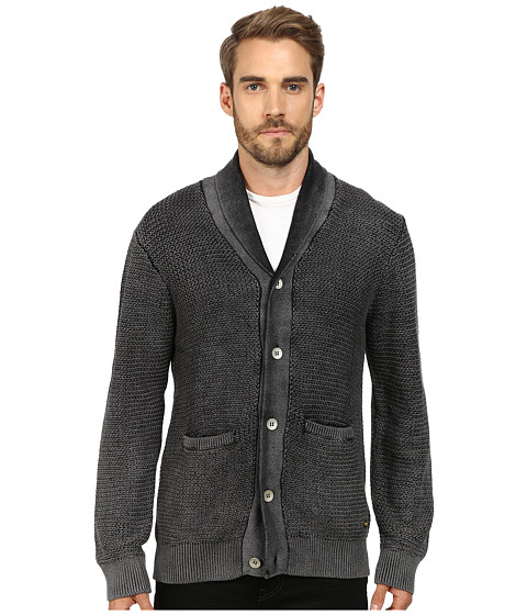 True Religion - Acid Wash Long Sleeve Button Down Cardigan (Black) Men