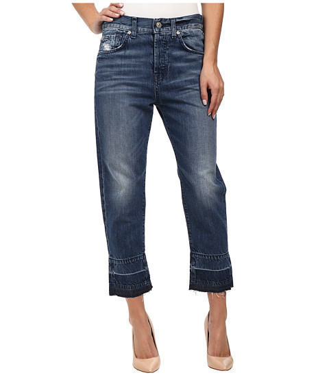 7 For All Mankind - The 1984 Boyfriend with Released Hem in Rigid Lake Blue (Rigid Lake Blue) Women