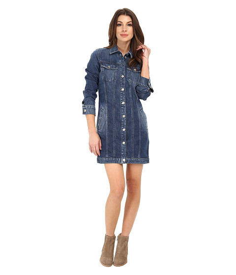 7 For All Mankind - Trucker Duster Dress (Rigid Lake Blue) Women