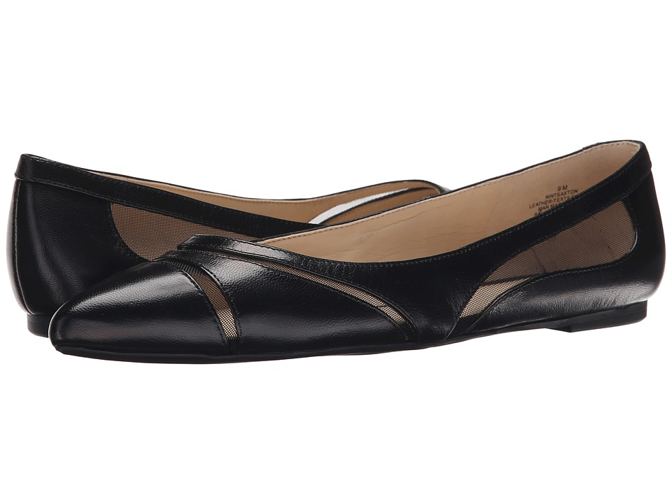 Nine West - Saxton (Black/Black Leather) Women's Slip on Shoes