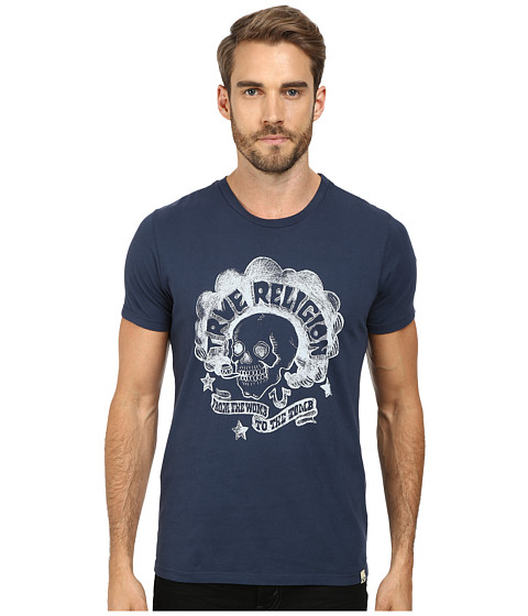 True Religion - Womb To Tomb Short Sleeve Crew Neck Tee (Midnight Blue) Men