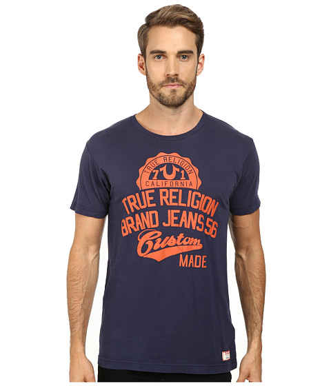 True Religion - Study Hall Short Sleeve Crew Neck Tee (Dark Navy) Men