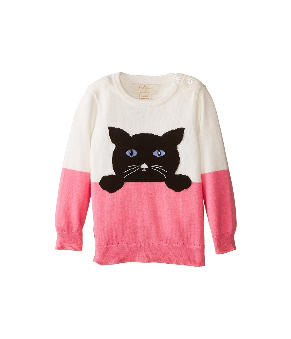 Kate Spade New York Kids - Intarsia Cat Sweater (Infant) (Cream/Cotton Candy) Girl's Sweater