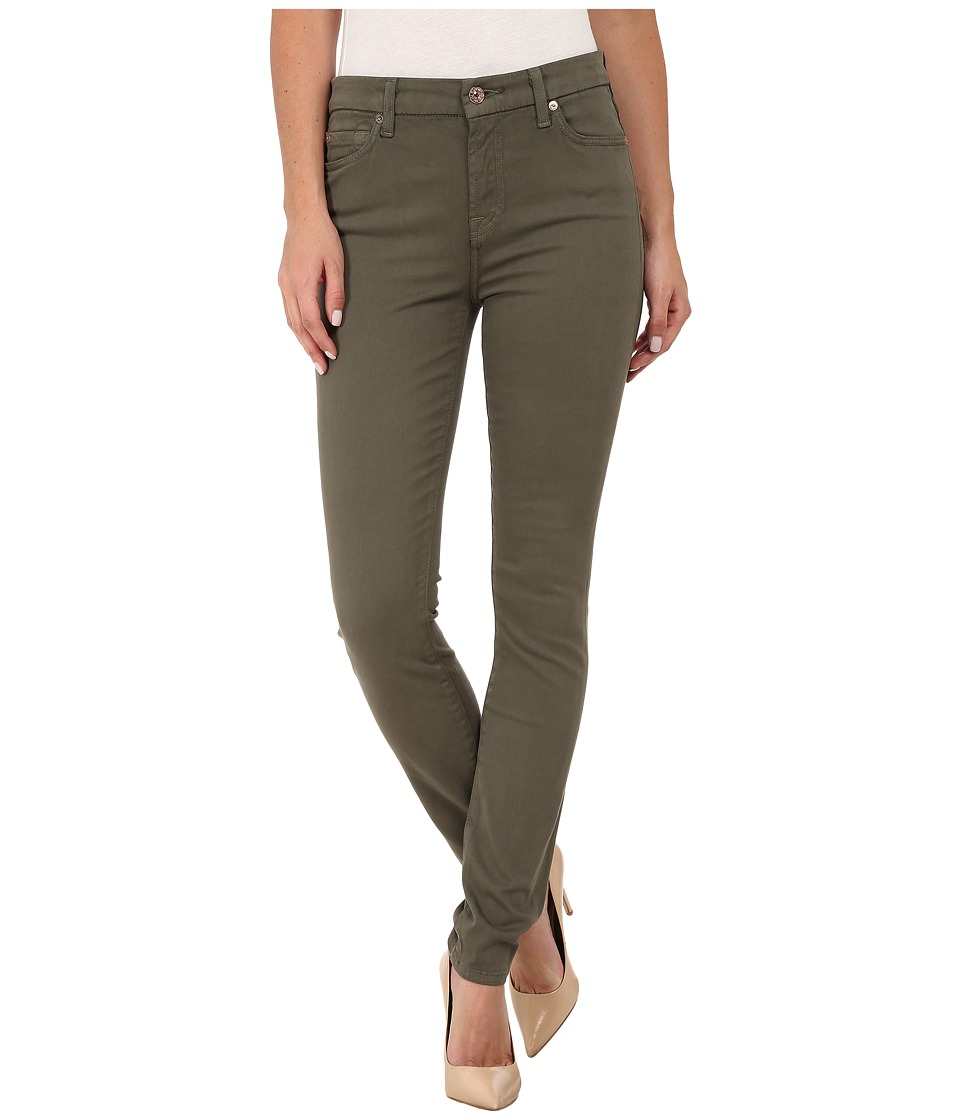 7 For All Mankind Mid Rise Skinny with Contour Waistband in Fatigue (Fatigue) Women
