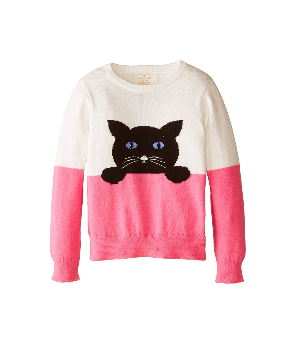 Kate Spade New York Kids - Intarsia Cat Sweater (Toddler/Little Kids) (Cream/Cotton Candy) Girl's Sweater