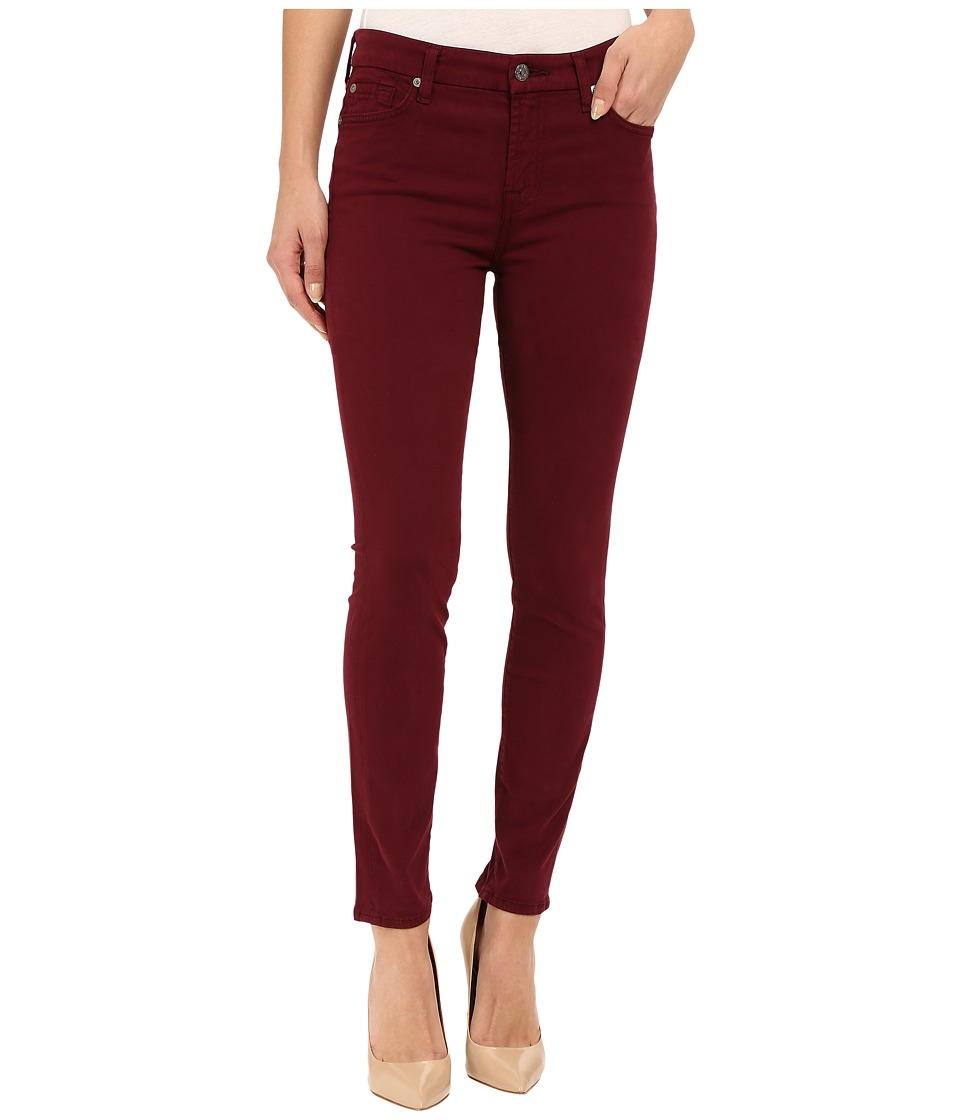 7 For All Mankind - Mid Rise Skinny with Contour Waistband in Dark Ruby Red (Dark Ruby Red) Women's Jeans