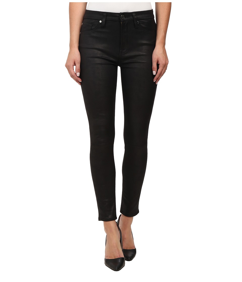 7 For All Mankind - High Waist Ankle Knee Seam Skinny in Black Leather Like (Black Leather Like) Women's Jeans