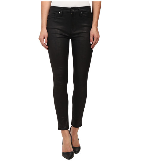 7 For All Mankind - High Waist Ankle Knee Seam Skinny in Black Leather Like (Black Leather Like) Women