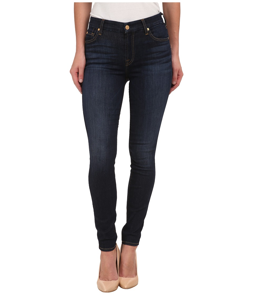 7 For All Mankind - Mid Rise Ankle Skinny with Spice Squiggle in Slim Illusion Tried/True Blue (Slim Illusion Tried/True Blue) Women