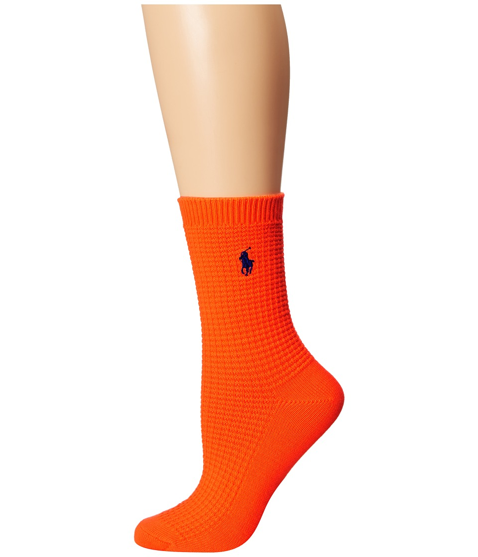 LAUREN Ralph Lauren - Waffle Texture Crew (Bright Orange) Women's Crew Cut Socks Shoes