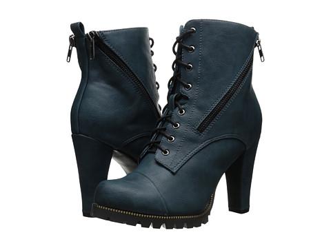 C Label - Binky-2 (Blue) Women's Lace-up Boots
