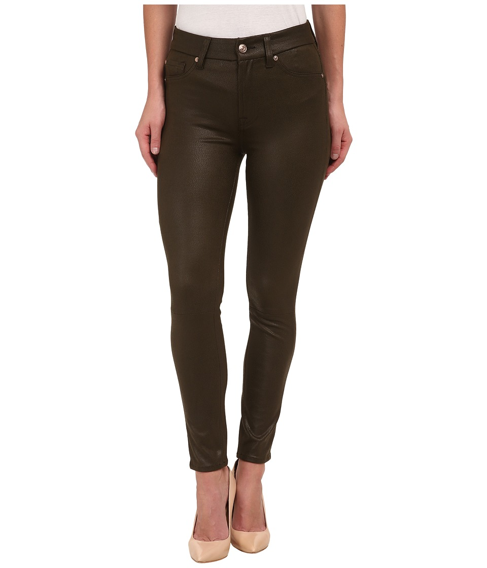 7 For All Mankind - High Waist Ankle Knee Seam Skinny in Hunter Green Crackle (Hunter Green Crackle) Women