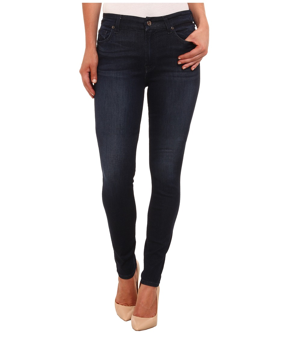 7 For All Mankind - Mid Rise Skinny with Contour Waistband in Slim Illusion Luxe Dark Ink (Slim Illusion Luxe Dark Ink) Women's Jeans