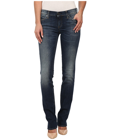 True Religion - Cora Mid Rise Straight Jeans in Old Blinston Blue (Old Blinston Blue) Women