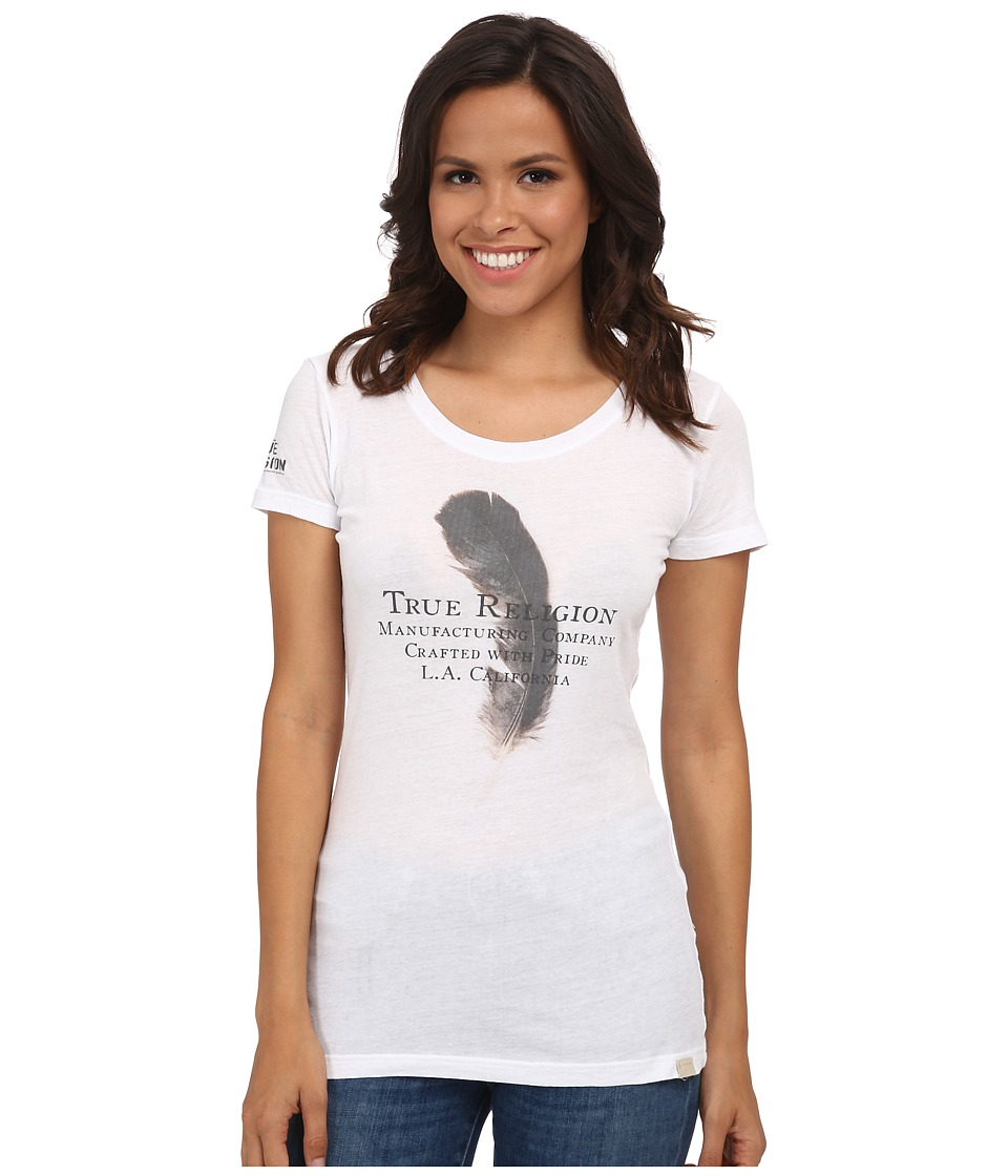 True Religion - Feather Short Sleeve Crew Neck Tee (White) Women's T Shirt