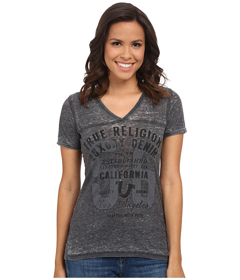 True Religion - Boxy Burnout V-Neck Tee (Jet Black) Women's T Shirt