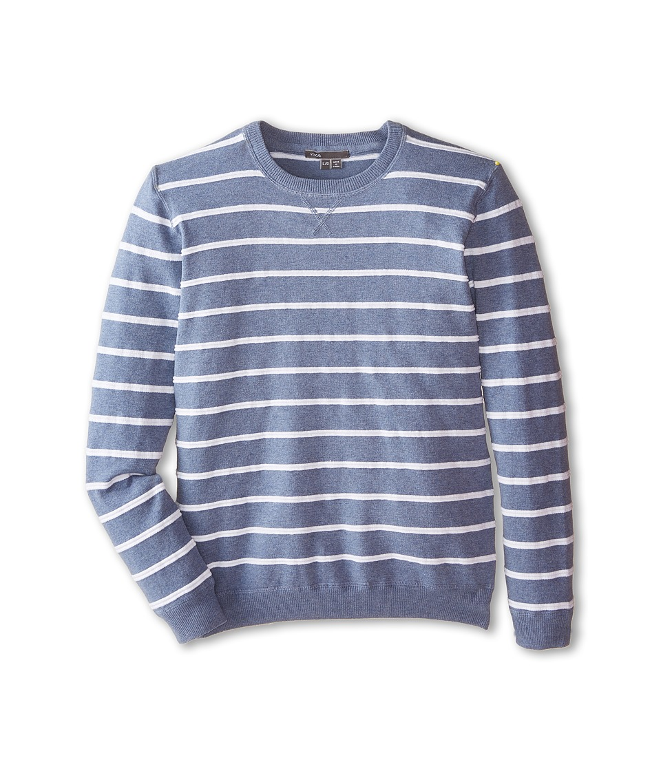 Vince Kids - Vintage Melange Striped Crew Neck (Big Kids) (Heather Baltic Blue/White) Boy
