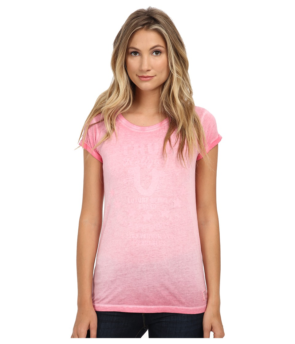 True Religion - Short Sleeve Crew Neck Tee (Carmelia Red) Women's T Shirt