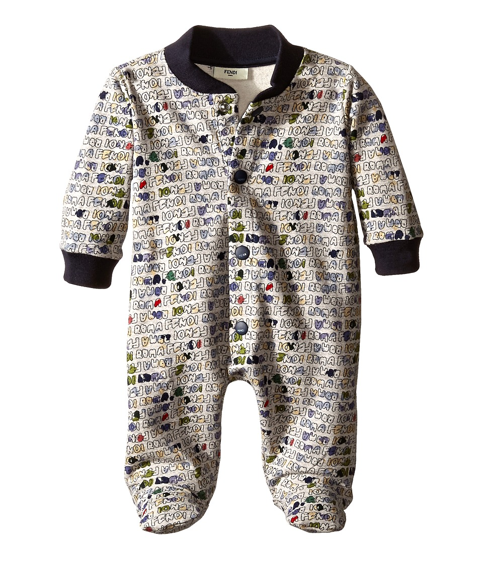 Fendi Kids - Stamped Romper (Infant) (Blue) Boy's Jumpsuit & Rompers One Piece