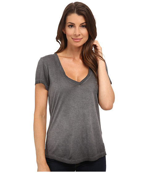 True Religion - Boxy V-Neck Tee (Black) Women's T Shirt