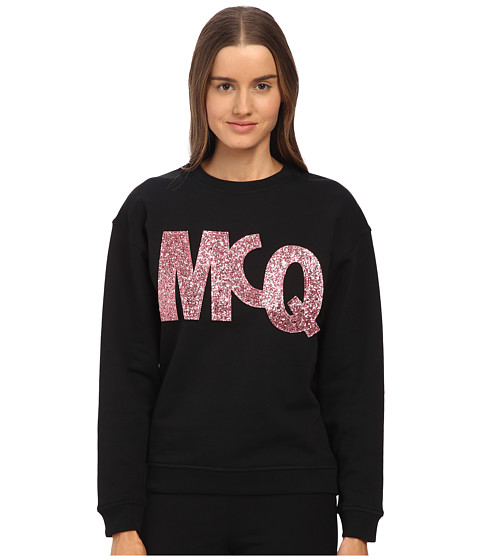 McQ - Classic Sweater (Darkest Black Glitter Velcro) Women's Sweater