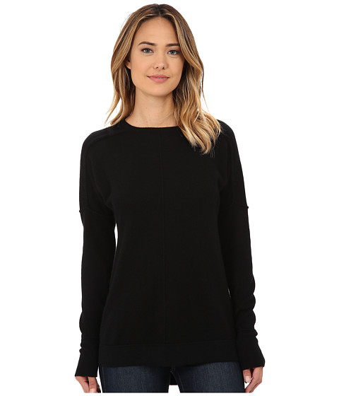 Culture Phit - High-Low Cashmere Crew With Seam Details Sweater (Black) Women's Sweater