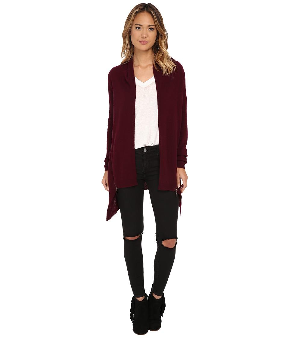 Culture Phit - Side Zip Open Drape Cashmere Cardigan (Cranberry) Women