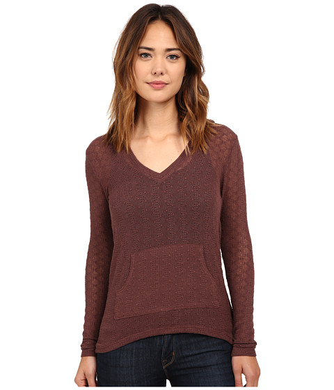 Volcom - Free To Go V-Neck Top (Chestnut Brown) Women's Long Sleeve Pullover