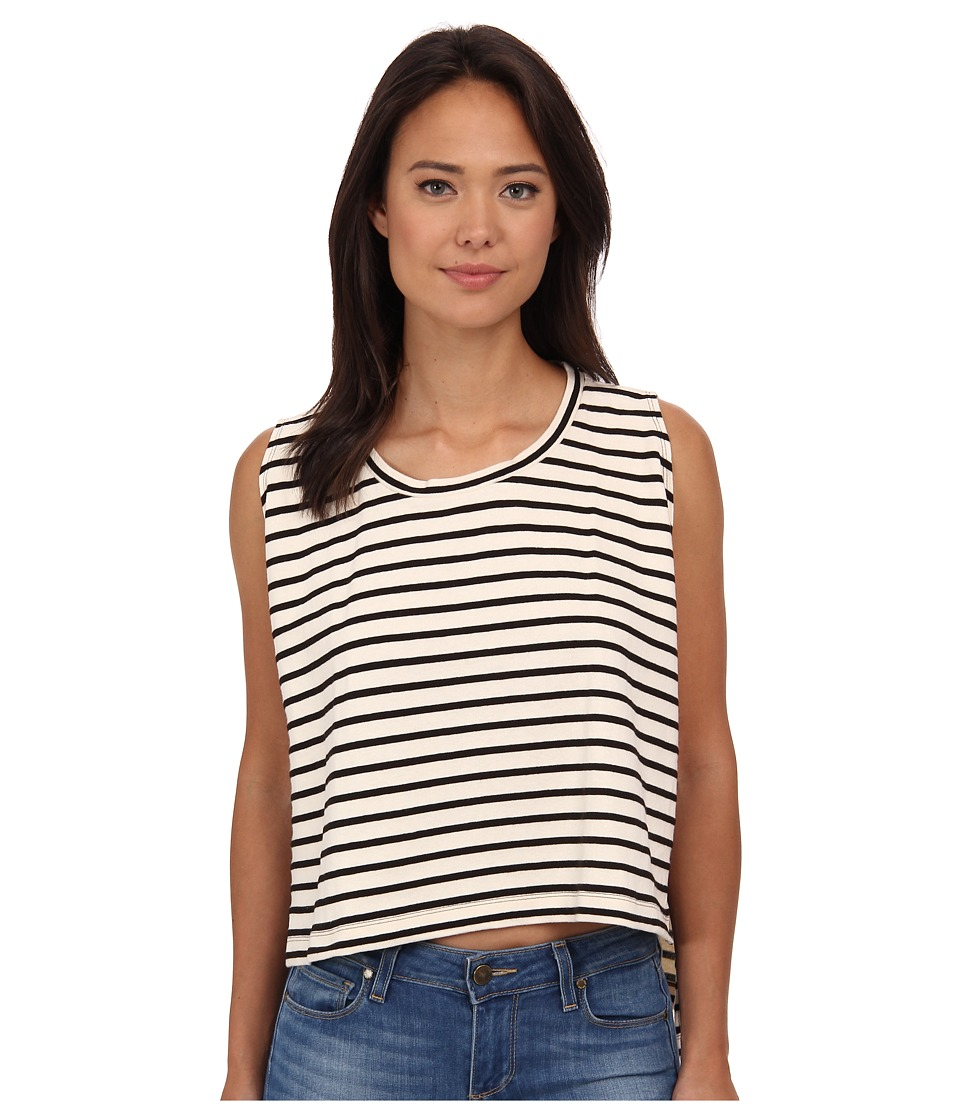 Free People - Madness Stripe Muscle Tank Top (Ivory/Black) Women's Clothing