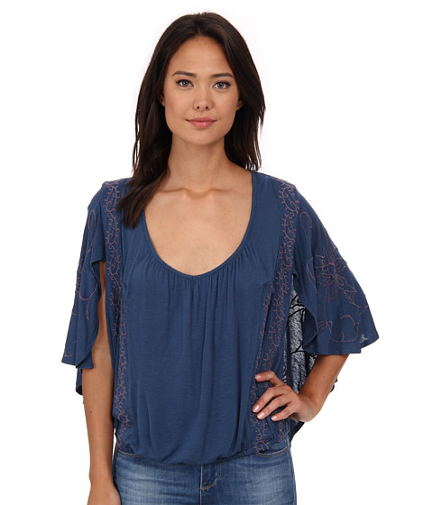Free People - New World Jersey Sevilla Blouse (Oil Blue) Women's Blouse